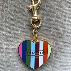Coach heart enamel lip gloss key chain